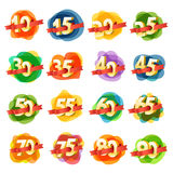 Different digits with ribbons Royalty Free Stock Photography