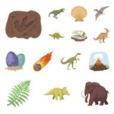 Different dinosaurs cartoon icons in set collection for design. Prehistoric animal vector symbol stock web illustration. Royalty Free Stock Image