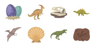 Different dinosaurs icons in set collection for design. Prehistoric animal vector symbol stock web illustration. Royalty Free Stock Photos