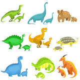 Different Dinosaurs In Pairs Of Big And Small Royalty Free Stock Photography
