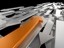 Different Direction. 3d image of an orange arrow travelling in a different direction to the competition Royalty Free Stock Image