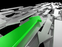 Different Direction. 3d image of an green arrow travelling in a different direction to the competition Royalty Free Stock Images