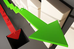 Different direction arrow top. Different direction concept with abstract cars going in different directions on red and green arrows. Chart bars in the background Stock Image