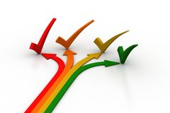 Different direction arrows with check mark Stock Photography