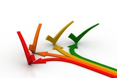 Different direction arrows with check mark Royalty Free Stock Photo