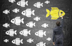 Different direction chalkboard. Different direction concept with businessman drawing goldfish sketch on chalkboard Stock Images