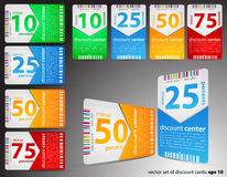 Different discount cards Stock Photos