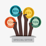 Different discount sticker Royalty Free Stock Photos