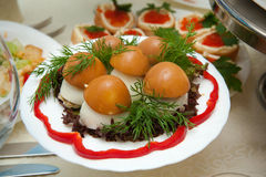 Different dishes of food on the tables Stock Photo