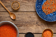Different dishes with a lentil on a wooden table Royalty Free Stock Images