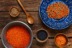 Different dishes with a lentil on a wooden table Royalty Free Stock Photos