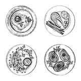 Different dishes on plates set of vector sketches. isolated illustration. hand drawing on white background Stock Photo
