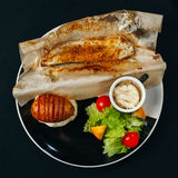 Different dishes with sea food and fish are basis of a healthy diet Stock Photos
