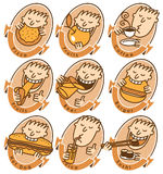 Different dishes. Set of characters with different dishes for the menu Stock Image