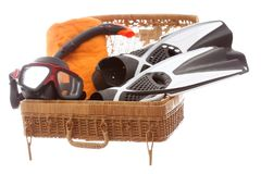 Different diving equipment. In a basket case Royalty Free Stock Image