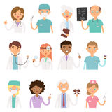 Different doctors profession charactsers vector medical people set. Stock Photos