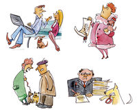 Different dog owners. Illustration of four different type dog owners Royalty Free Stock Photography