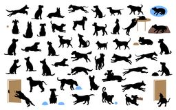 Different dogs silhouettes set, pets walk, sit, play, eat, steal food, bark, protect run and jump, isolated vector illustration. Over white background Stock Photos