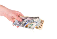 Different dollar bills in hand Royalty Free Stock Photo