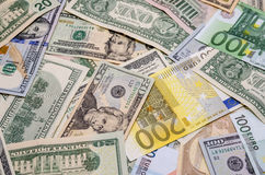 Different dollar and euro Royalty Free Stock Photos