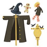 Different dolls toy character game dress and farm scarecrow rag-doll vector illustration Stock Photography