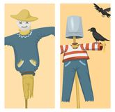 Different dolls toy character game dress and farm scarecrow rag-doll vector illustration Royalty Free Stock Images
