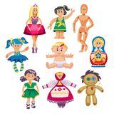 Different dolls toy character game dress and farm scarecrow rag-doll vector illustration Royalty Free Stock Photo