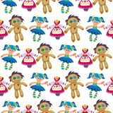 Different dolls toy character game dress seamless pattern background farm scarecrow rag-doll vector illustration stock illustration