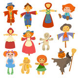Different dolls toy character game dress and farm scarecrow rag-doll vector illustration Royalty Free Stock Photos