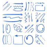 Different doodle arrows set. Vector pictures isolate on white Royalty Free Stock Image