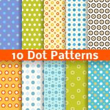 Different dot vector seamless patterns (tiling). 10 Different dot vector seamless patterns (tiling). Endless texture can be used for printing onto fabric and Royalty Free Stock Image