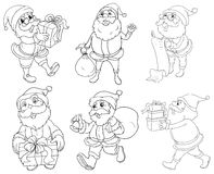 Different drawings of Santa Claus giving gifts Royalty Free Stock Photo