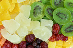 Different dried fruits background Stock Photos