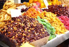 Different dried fruits. At market royalty free stock images