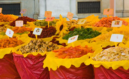 Different dried fruits in the market Stock Photo