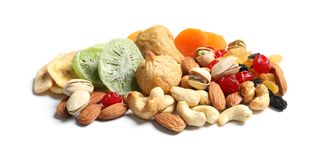 Different dried fruits and nuts. On white background stock photography