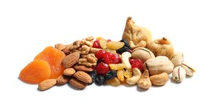 Different dried fruits and nuts stock photography