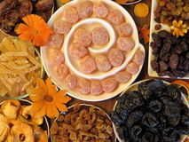 Different dried fruits pattern stock images
