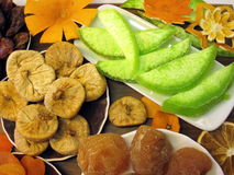 Different dried fruits pattern Royalty Free Stock Photos