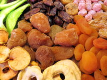 Different dried fruits pattern stock photos