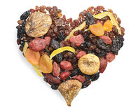 Different dried fruits in the shape of hearts Royalty Free Stock Image