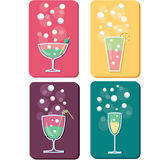 Different drinks and cocktails icons Royalty Free Stock Photos