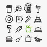 Different drinks and food icons Stock Photo
