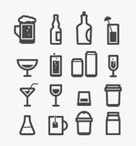 Different drinks icons set Royalty Free Stock Photography