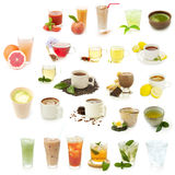 Different drinks isolated on a white background stock photography
