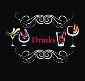 Different drinks.Menu. Beautiful hand-painted drinks menu Stock Image