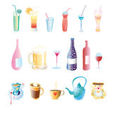 Different drinks royalty free illustration