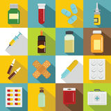 Different drugs icons set, flat style. Different drugs icons set. Flat illustration of 16 different drugs vector icons for web Stock Images