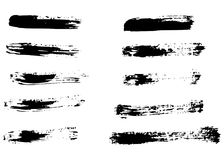 Different dry vector brush strokes Stock Photography
