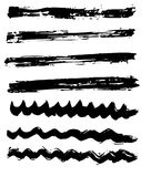 Different dry vector brush strokes Royalty Free Stock Photos